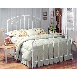 325bqr cottage style white queen metal canopy bed maddie - White Queen Bed Frame
