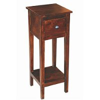 Tall Antique Brown End Table - Vienna