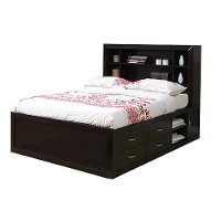 Merlot Contemporary Full Storage Bed - Milan