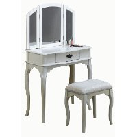 Pure White Vanity Set With Mirror And Bench