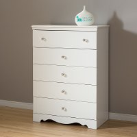 3550035 Pure White 5-Drawer Chest - Crystal