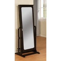 Antique Black Cheval Jewelry Wardrobe with Mirror