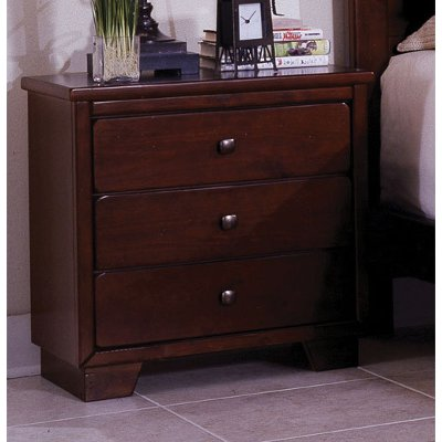 Contemporary Espresso Brown Nightstand - Diego