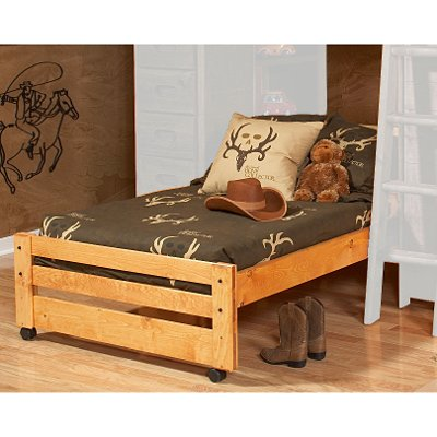 Rustic Cinnamon Pine Twin Caster Bed - Palomino