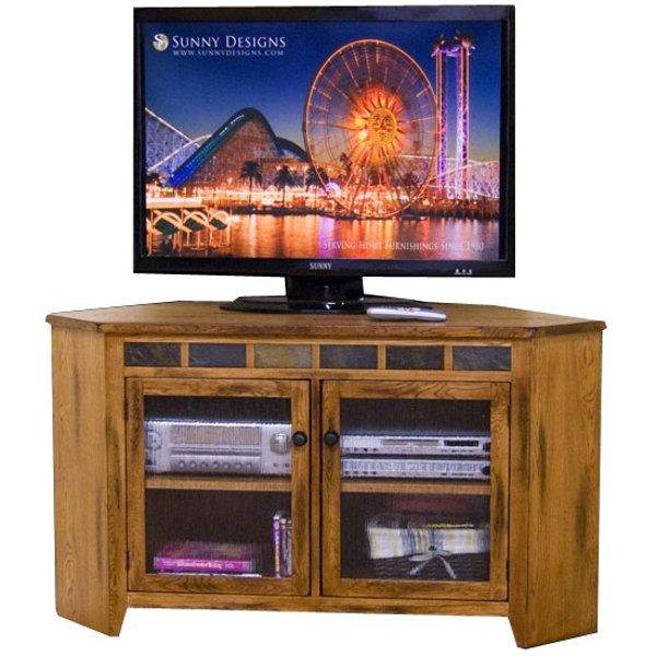 55 Inch Oak Corner TV Stand   Sedona