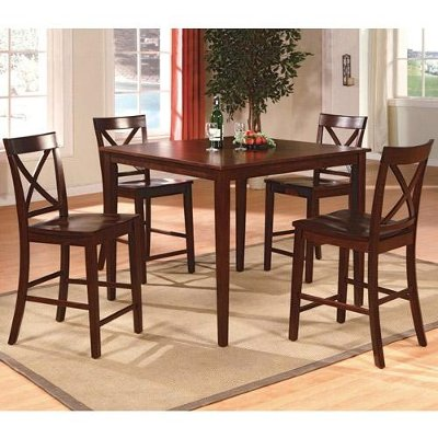 5 Piece Counter Height Dining Set - Transitional Theodore Espresso ...