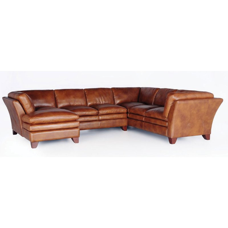 Camel Brown Leather 3 Piece Sectional