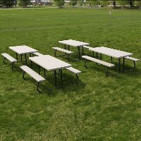42119 Lifetime Products Putty 4-Pack 6 ft. Folding Picnic Tables
