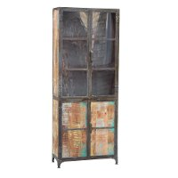 Reclaimed Lumber and Recycled Steel Tall Cabinet