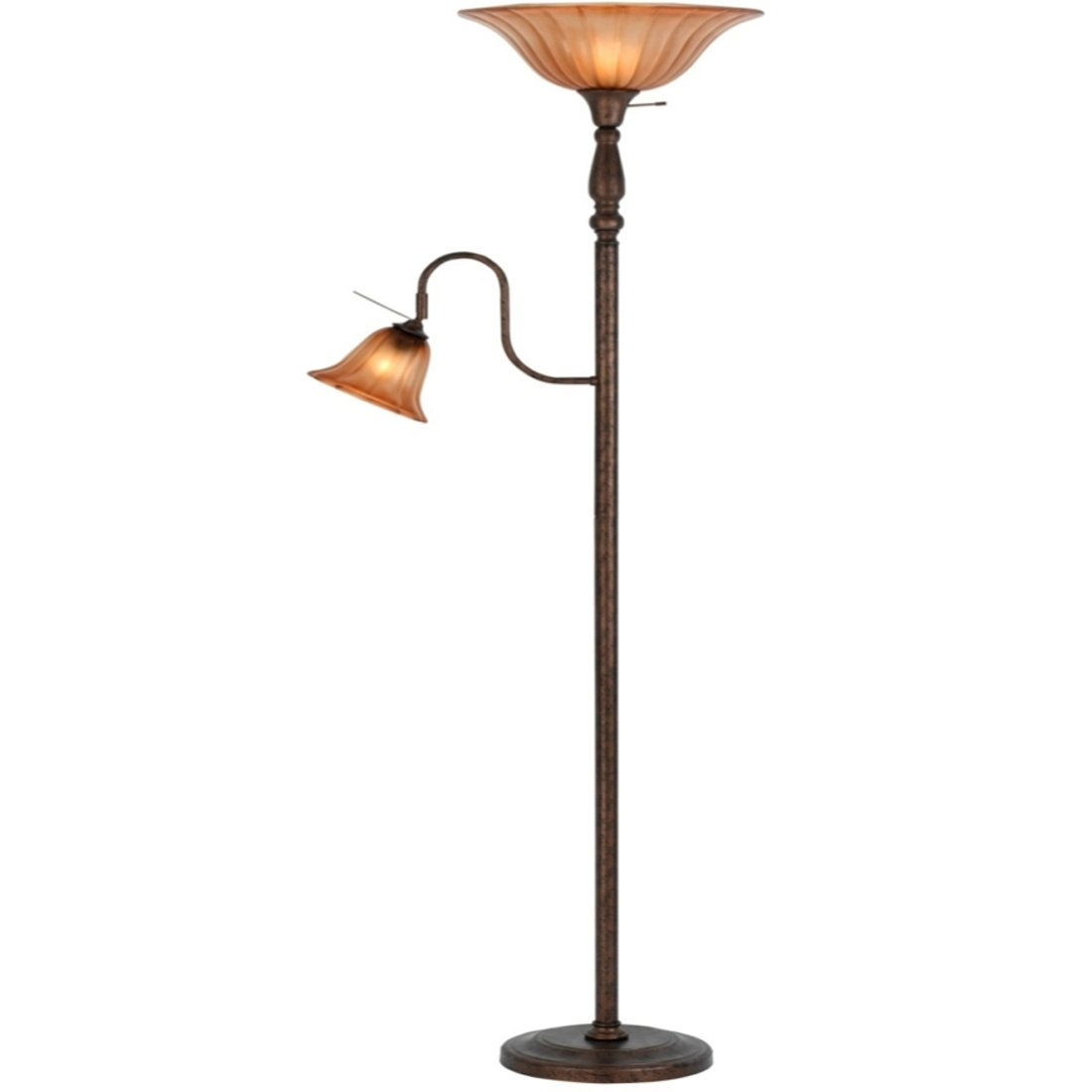 Bronze Metal Torchiere Uplight Floor Lamp with Reading Lamp