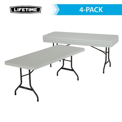 42901 Lifetime 6 Foot Folding Banquet Tables 4 Pack White
