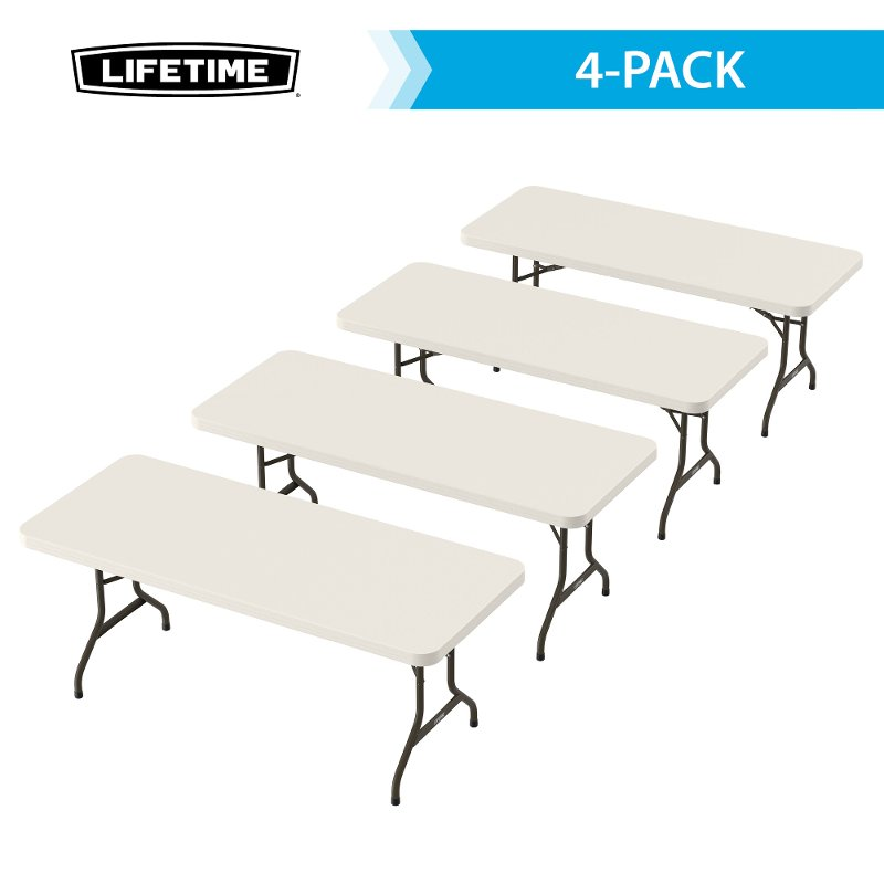 Lifetime 6 Foot Folding Banquet Tables 4-Pack Almond
