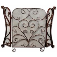 Cocoa Brown Fireplace Screen with Light Tan Glaze