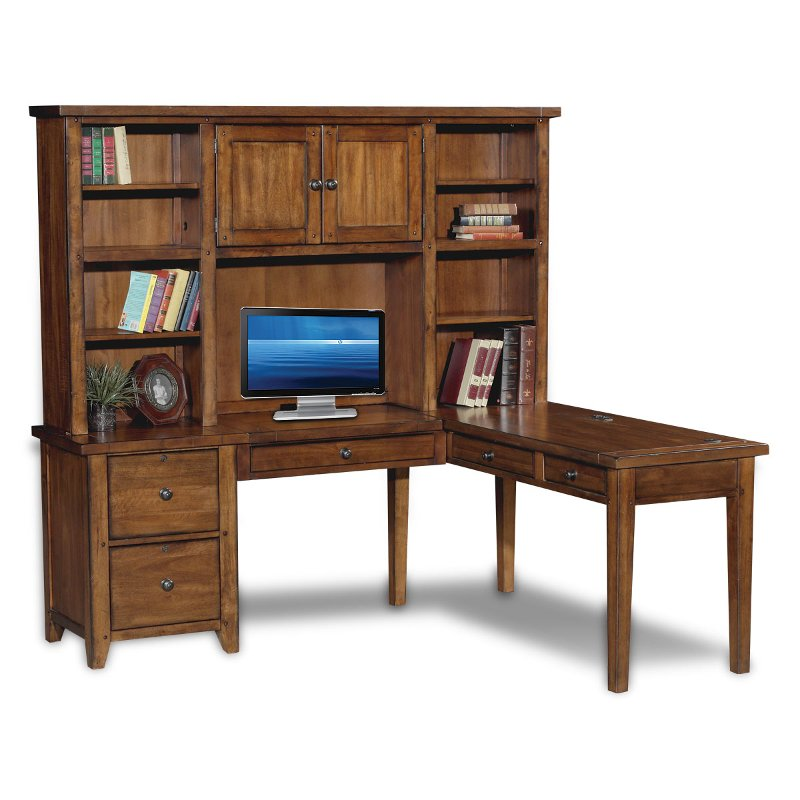 Rustic Brown Corner Computer Desk with Hutch - Cross Country