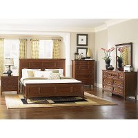 Cherry Casual Traditional 4 Piece Queen Bedroom Set - Harrison