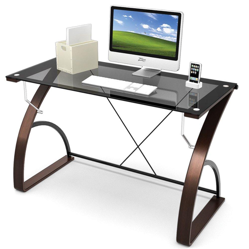 ... Z-Line Modern Glass Desk - Bentwood