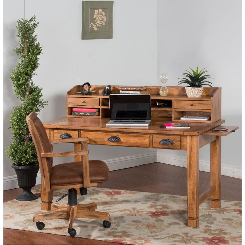 Rustic Light Brown Small Computer Desk With Hutch Sedona
