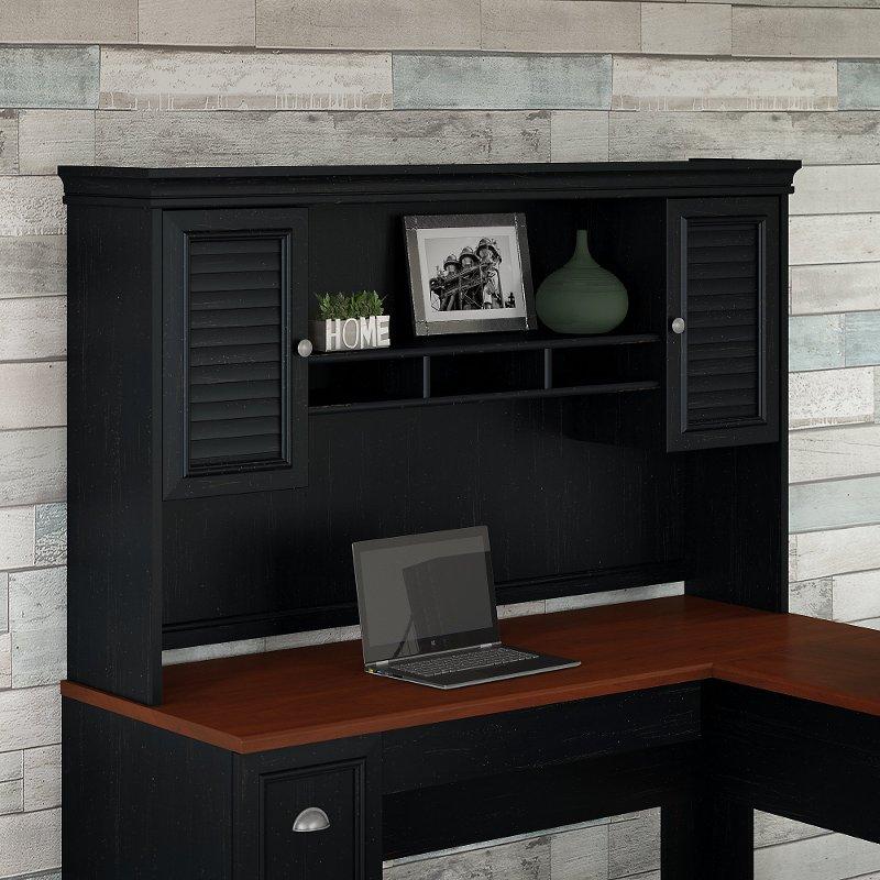 Antique Black Hutch For L Shaped Desk Fairview