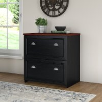 Black/ Cherry 2-Drawer Lateral File Cabinet - Fairview