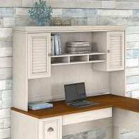 Antique White L-Desk Hutch - Fairview