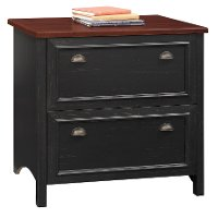 Black/ Cherry 2- Drawer Lateral File Cabinet - Stanford