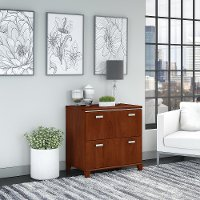 Cherry 2 Drawer Lateral File Cabinet - Tuxedo