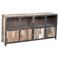 Monk Reclaimed Wood and Iron 4 Door Sideboard