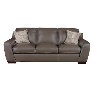 Contemporary Slate Gray Leather Sofa Shining Tips Rc Willey Furniture
