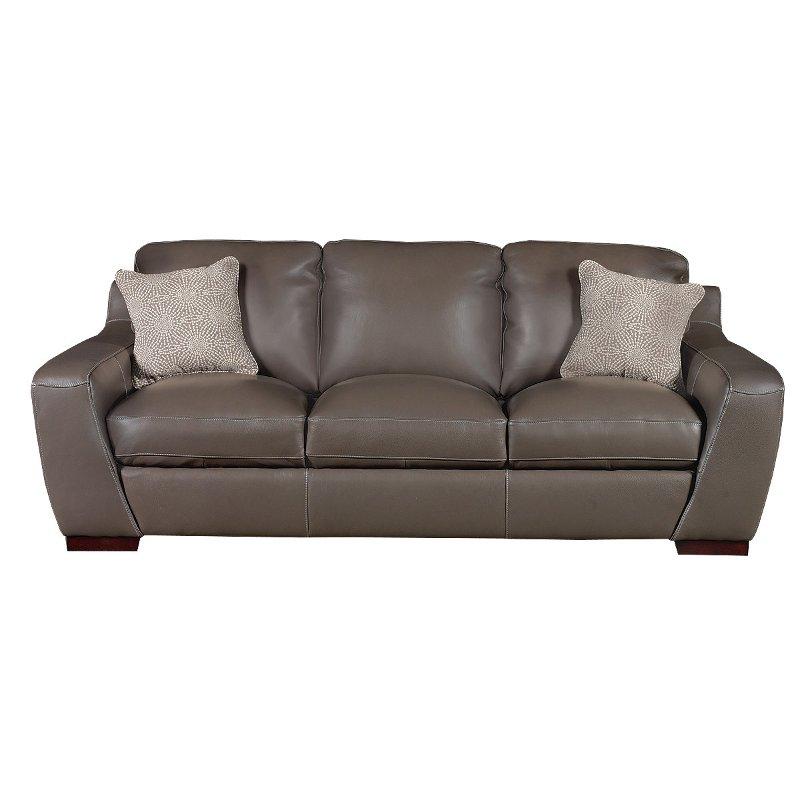 Contemporary Slate Gray Leather Sofa Shining Tips