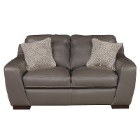 Contemporary Slate Gray Leather Loveseat - Shinning Tips