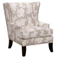 Silver Paisley Wing Chair - Chelsea Collection