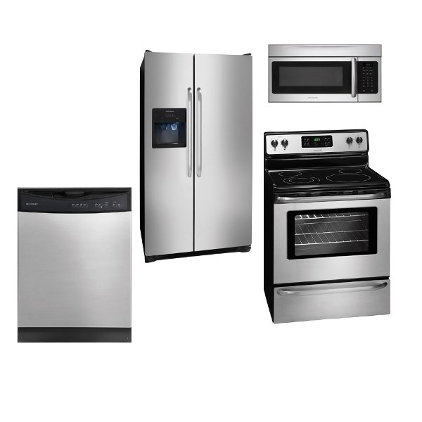 SS 4PC ELE KITPACK Frigidaire 4 Piece Kitchen Appliance Package With  Electric Range