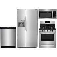 SS-4PC-GAS-KITPACK Frigidaire 4 Piece Kitchen Appliance Package with Gas Range - Stainless Steel