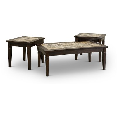 Wood & Marble 3 Piece Coffee Table Set