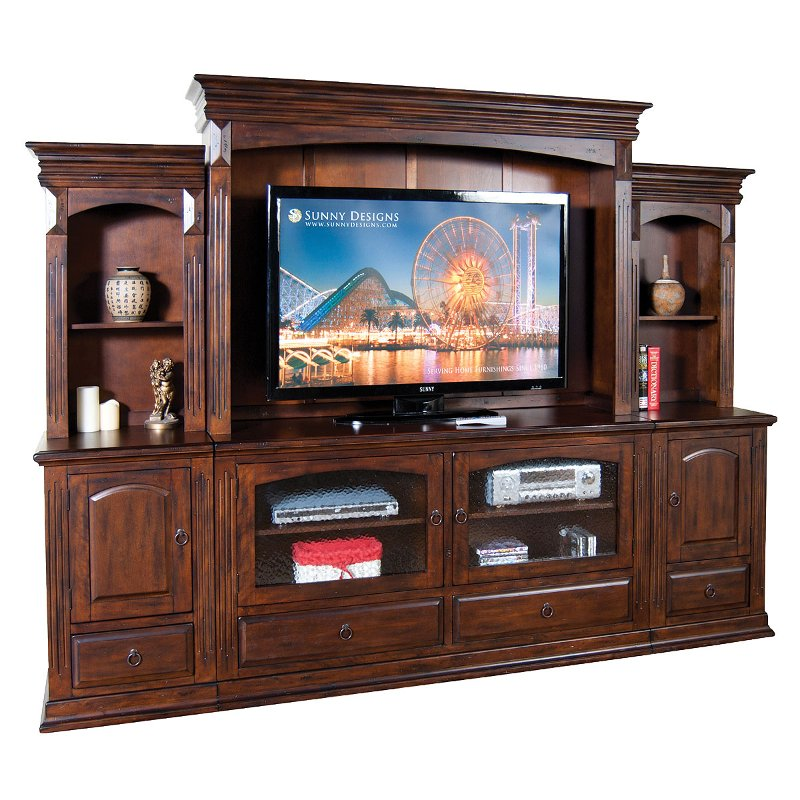 Washed Brown 6 Piece Traditional Entertainment Center Santa Fe