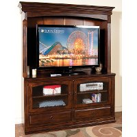 63 Inch Chocolate Brown TV Stand with Hutch - Santa Fe