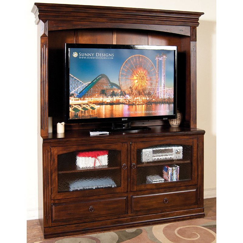 Washed Brown 2 Piece Traditional Entertainment Center Santa Fe