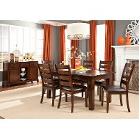 Brown 5 Piece Dining Set with Ladderback Chairs - Kona