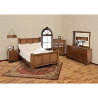 Brown Cherry Classic 6 Piece King Bedroom Set - Amish