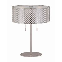 Twin-Pull Polished Steel Table Lamp