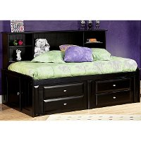 Black Contemporary RoomSaver Twin Storage Bed - Laguna