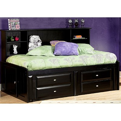 Black Full Contemporary RoomSaver Storage Bed