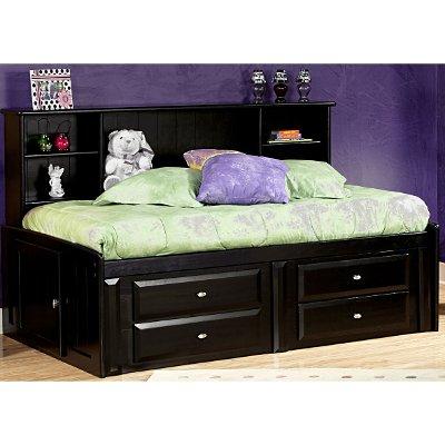 Black Full Contemporary RoomSaver Storage Bed   Laguna