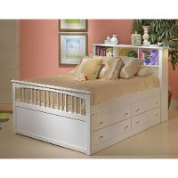 Classic White Twin Storage Bed with 1 Side Storage Drawers - Bayfront