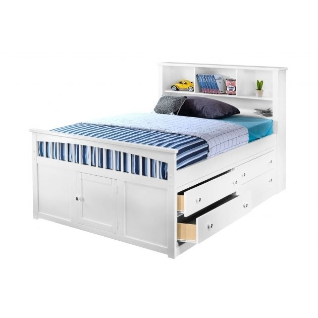 Classic White Full Storage Bed with 1 Side Storage Drawers ...