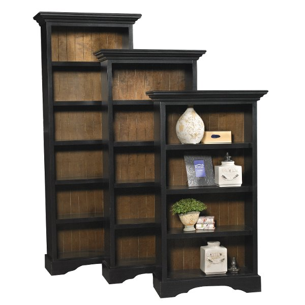 62 Inch Transitional Black Bookcase