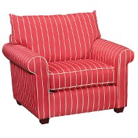 48 Inch Red Striped Upholstered Chair