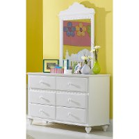 1528-717W White 6-Drawer Dresser - Lauren