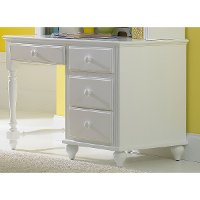 1528-779W White 4-Drawer Desk - Lauren
