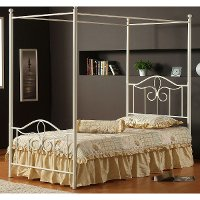 1354BTWPR Off-White Cottage Metal Twin Canopy Bed - Westfield